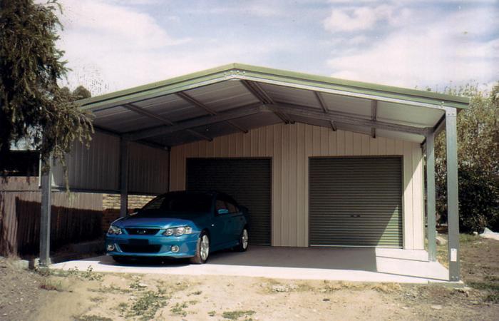 гараж с навесом на две машины фото важная