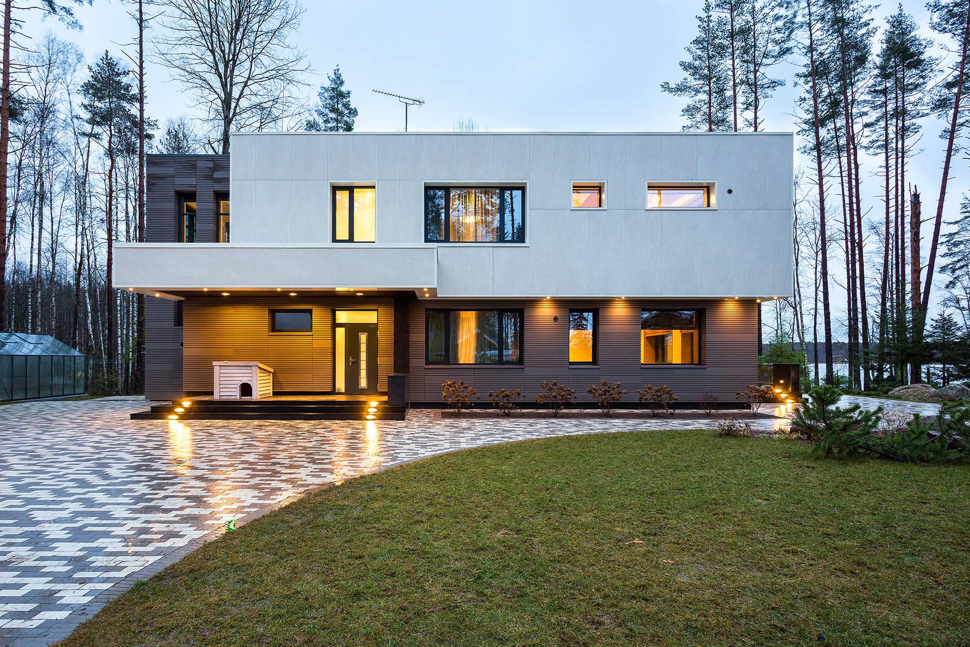 Современный дизайн фасадов частных домов фото